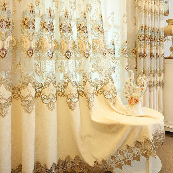 Luxury Nordic Embroidered Fabric Hollow Chenille Blackout Curtain for Living Room Embroidery Beige Sheer Bedroom Drapes M112-4