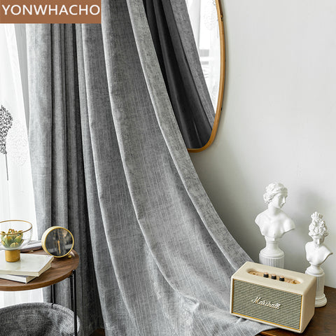 Custom curtains Nordic simple modern light luxury chenille high-end bay window grey cloth blackout curtain tulle drapes B507