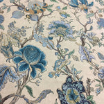 Luxurious Classic Flowers Jacquard Dark Blue Beige Chenille Designer Cloth Armchair Curtain Floral Sofa Fabric 280cm 1meter/lot