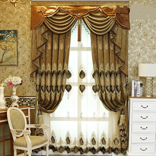 European Style Curtain for Living Room Luxurious Curtains for Bedroom Atmosphere New Embroidery Chenille Valance Curtain Blue