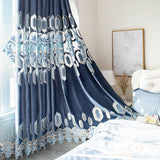 European Style Modern Embroidery Curtains for Living Room Bedroom Embroidered Floral Luxury Chenille Voile Tulle Curtain