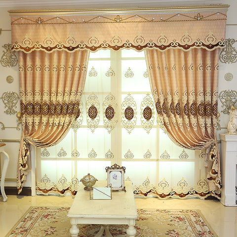 European Chenille Curtains for  Bedroom Embroidery Curtain High Shade  Curtainsfor Living Room Retro Curtain Fabric
