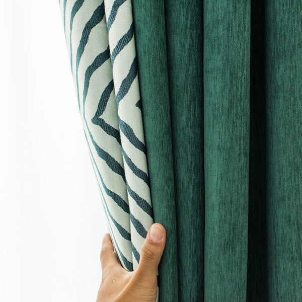 custom curtain nordic modern Chenille cotton shading splice geometry green flannel livingroom bedroom blackout curtain M649