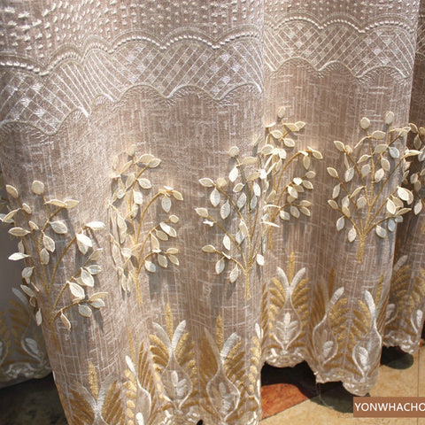 Custom curtains modern pastoral room thick chenille embossed embroidered beige cloth blackout curtain tulle drape B752