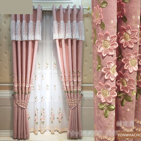 Custom curtains luxury European pink embroidery embossed chenille high-end cloth blackout curtain tulle drape B723