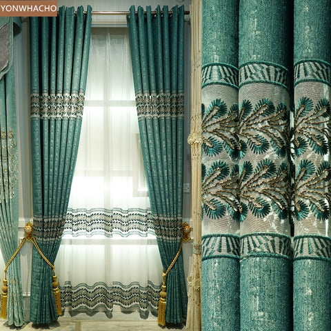 Custom curtains simple European light luxury embroidered thick chenille green cloth blackout curtain tulle  drape B831