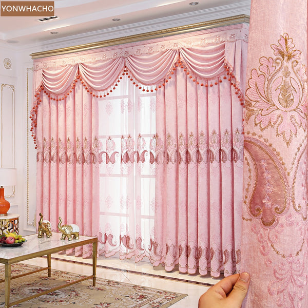 Custom curtains high class European chenille embroidery thick shading pink cloth blackout curtain tulle valance drape B781