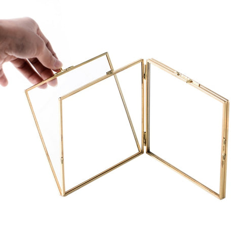 Folded Double-Sided Glass Metal Photo Frame, Botanical Specimen Holder, Electroplated Gold-Covered Display Stand