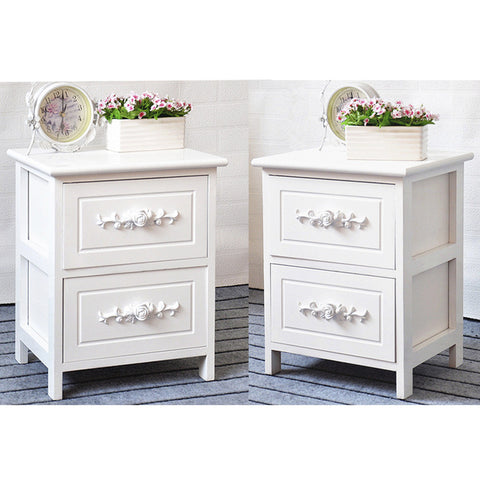 Preselling Panana 2 pcs White Rose Wooden Bedside Tables Cabinets Nightstand 2 Storage Drawers Fast delivery