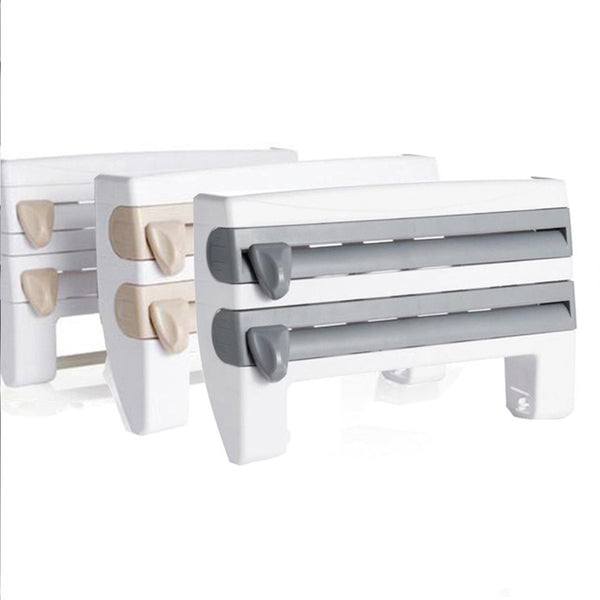 4-In-1 Wall-Mounted Kitchen Paper Holder Package Machine With Spice Rack Kitchen Shelf Plastic Hang Holder