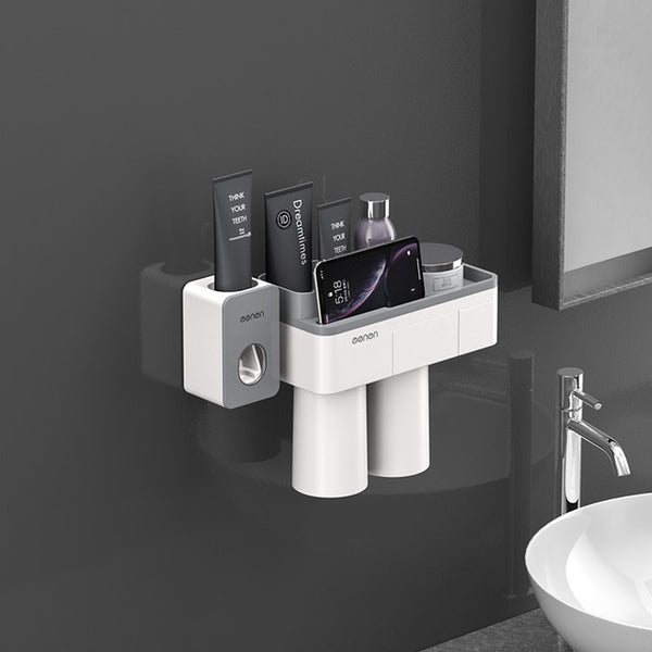 Toothbrush Holder Bathroom Accessories Toothpaste Squeezer Dispenser Storage Shelf Set For Bathroom Magnetic Adsorption With Cup