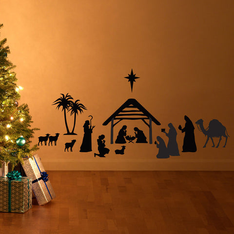 Nativity Silhouette Scene Wall Decal Christmas Vinyl Art Stickers Home Interior Decor Mural Decals for Living Room Bedroom D832