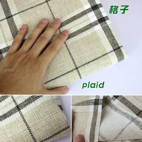 "Plaid Coated Linen Fabric Sofa Cushion Fabirc DIY Craft Sewing Cloth Outdoor Linen Blend Fabric Upholstery 58"" wide -Per yard"