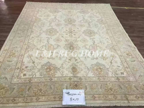 Lines Hand-knotted Wool Oriental oushak carpet handmade antique oushak rug