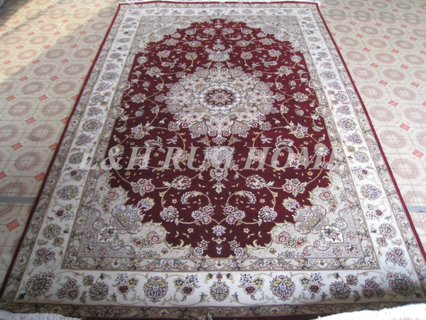 Line Hand-knotted  Wool and silk Oriental Persian carpet handmade carpet