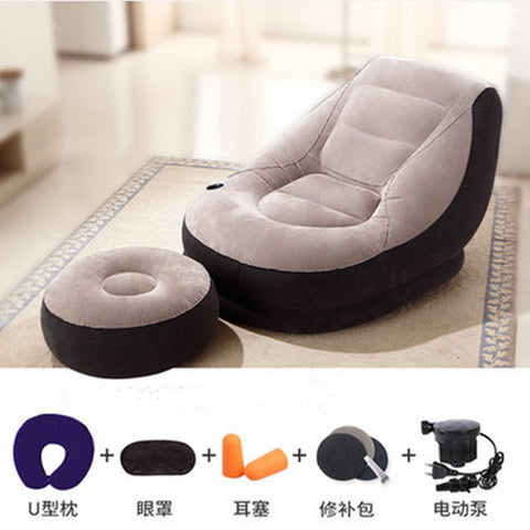 110CM*95CM*76CM Inflatable Soft Bed With Footstool Bed Beanbag Folding Softs Bedroom Furniture