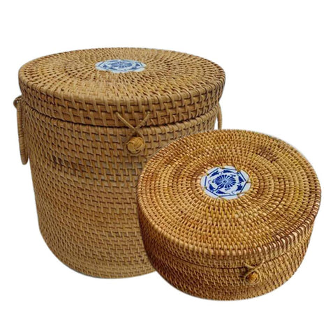 Wicker Weaving Wooden Tea Cake Box Jar With Lid Storage Container For Bulk Products Food Wicker Basket Organizer Easy Lock Cans