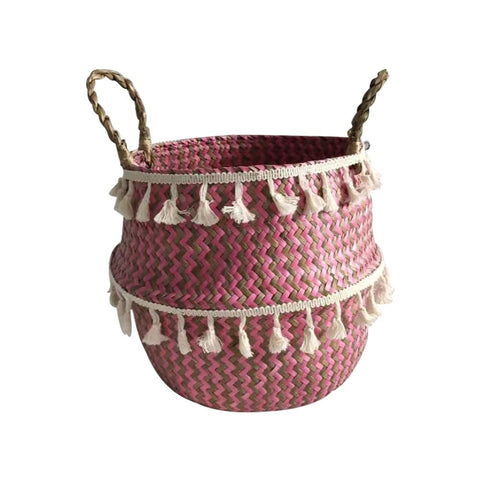 Storage Basket Braided Binaural Flower Basket Red Seaweed Shopping Basket Household Products Organizer Organizer Flower Disk