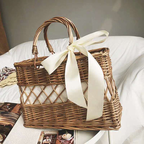 2020 New Female Rattan Bag Straw Bag For Women Summer Holiday Beach Handbag Woven Round Tote Handmade Bohemia product informatio