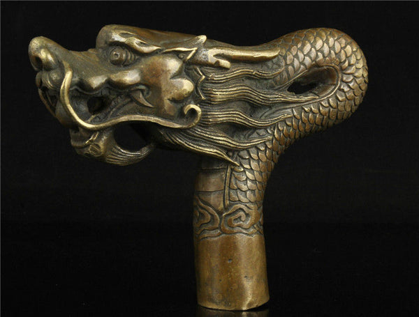 China Old Handwork Carving Bronze Dragon Statue Cane Head Walking Stick