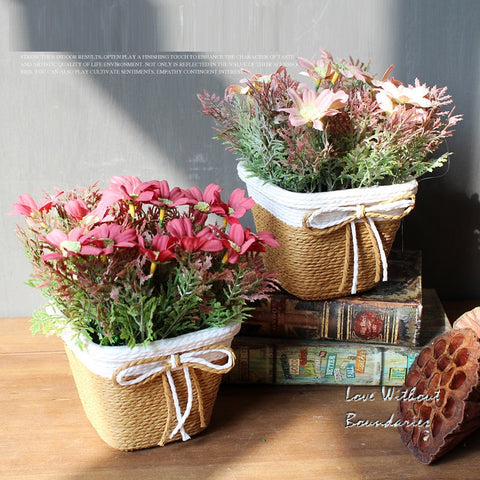 Silk Simulation Flower with Rattan basket for home decoration American Village Creative decor product