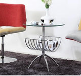 The steel glass small round table. The meeting guest discuss the table and chair combination. A table of four chairs.