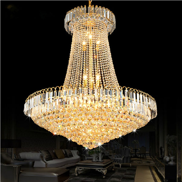 Luxury Golden Crystal Chandelier Light Stair Light LED Flush Chandelier Lustres de Cristais Lustre cristal Diameter 40 60 80CM