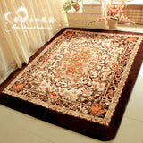 WINLIFE Romantic Pink Rose Rug for Living Room,Elegant American Country Style Carpet Bedroom,Branded Rug and Mat