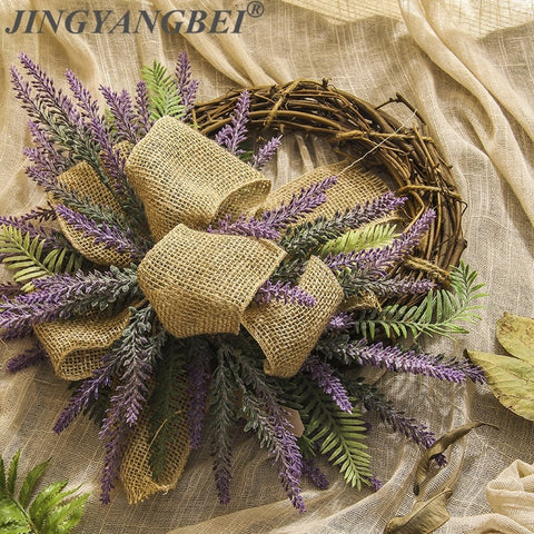 Handwork Rattan Lavender wreath Artificial flowers Garlands weeding decoration for the head take photo fashion single product