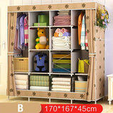 Actionclub Large Capacity Non-woven Cloth Wardrobe DIY Assembly Simple Closet Multi-function Dust-proof Clothes Storage Cabinet