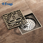 FRAP 10CM Square Brass Antique Brushed Floor Drain Carved Shower Room Drains Classic Bathroom Copper Shower Drain Cover Y38064