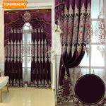 Custom curtains High-grade thick chenille luxury European embroidery purple cloth blackout curtain tulle valance drape N760