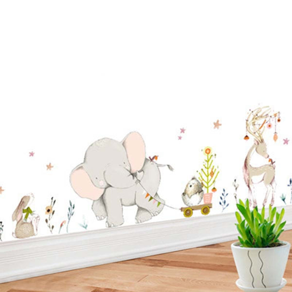 Cartoon Forest Flowe Elephant Rabbit Giraffe Animal Wall Stickers Kids Room Decoration Vinyl Wallpaper Baby Bedroom Wall Decals