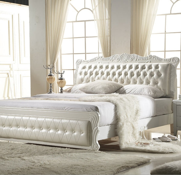 High quality factory price royal large king size Genuine leather soft bed bedroom wedding furniture soft bed 0936