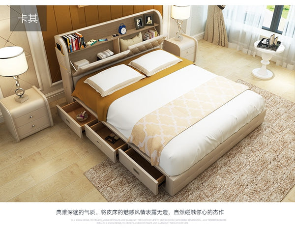 Genuine leather bed frame with storages drawers Modern Soft Beds Home Bedroom Furniture cama muebles de dormitorio camas quarto