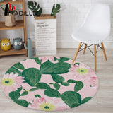 Miracille Cactus Potted Printing Coral Velvet Round Floor Mats Living Room Table Carpets Colorful Anti-Slip Bedroom Decor Rug