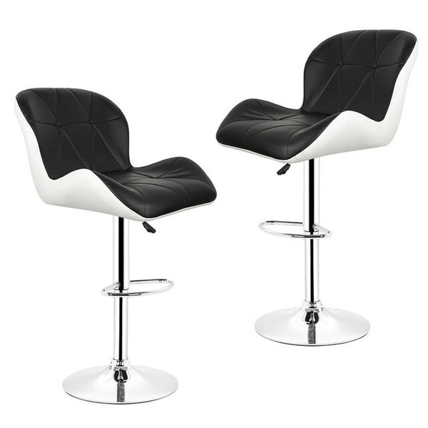JEOBEST 2pcs/pair Modern White Synthetic Leather Swivel Bar stoole chairs Height Adjustable Pneumatic Pub Chair HWC