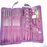 104pcs Stainless Steel Straight Needle Circular Needles Knitting Needles Crochet Hook Weave Set with Bag Sewing Needle Kits