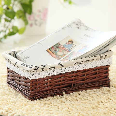 2019 NEW PRODUCTS Bamboo Weaving Storage Basket Fruit Rattan Storage Box For Cosmetics tea picnic basket organizer Handiwork