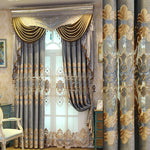 Curtain Cloth European Style Curtains for Living Room Chenille Curtains for Bedroom Shading Embroidery Window Valance Curtain