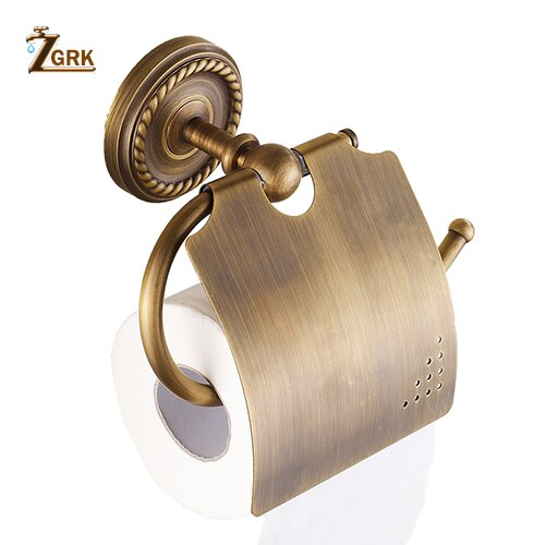 ZGRK Paper Holders Solid Brass Gold Paper Roll Holder Toilet Paper Holder Tissue Holder Restroom Bathroom Accessories