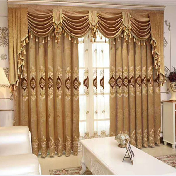 Curtains for Living Room Modern Valance Bedroom European Luxury Landing Window Screen Premium Thickening Chenille Embroidery