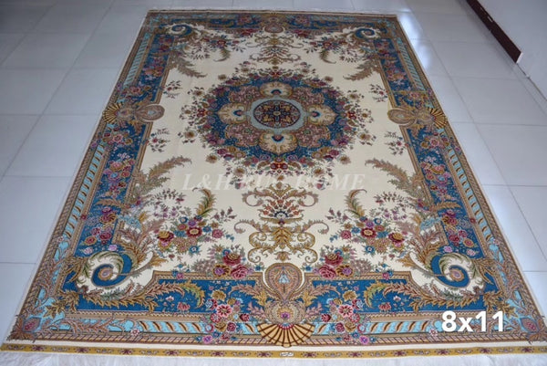 Line Handmade Silk Oriental Persian Rug hand Knotted silk carpet for home decoration