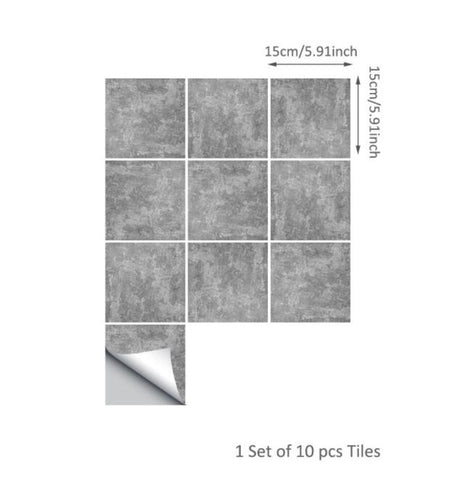 Funlife Gray Marble DIY Tiles Decal,Cement Brick Waterproof Wall Sticker for Living Room Kitchen Bathroom,Modern Home Decoration
