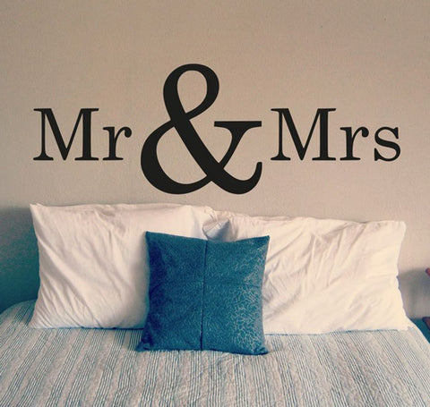 Bedroom Wall Decal Mr and Mrs Vinyl Art Sticker Wallpaper Removable Home Decor Interior Design Room Sign Decals Mural D305