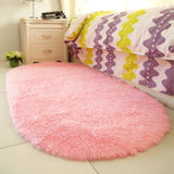 Thick Plush Rugs Lovely Pink Oval Carpets Living Room Bedroom Door Floor Mat Soft Warm Anti-slip Quality Polyester Home Area Rug