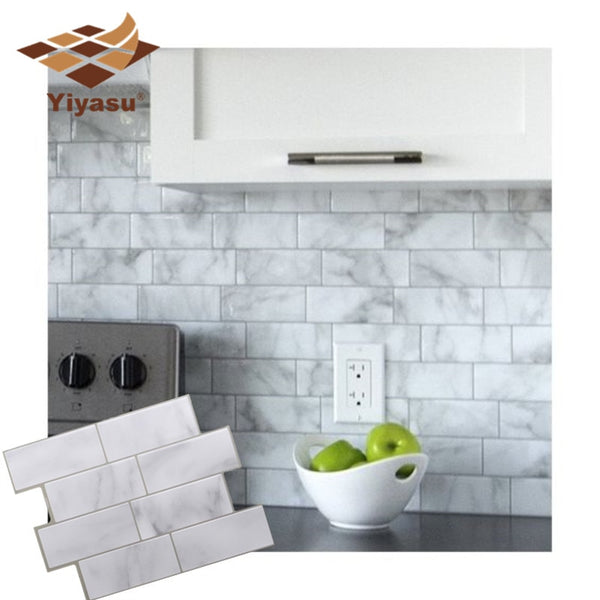 3D White Grey Marble Mosaic Peel and Stick Wall Tile Self Adhesive Backsplash Kitchen Bathroom Home Wall Decal Sticker Vinyl