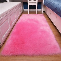 White Faux Fur Carpet For Bedroom Floor Super Soft Sheepskin Fur Area Rugs Rectangle Rug Bedside Shaggy Plush Mat