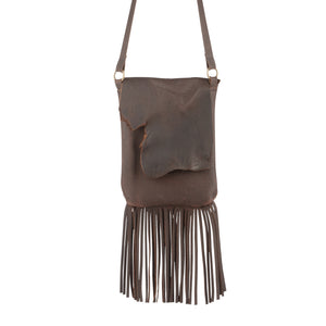 Fringe Crossbody Purse in Chocolate Brown Leather
