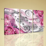 Large Flower Diamond Floral Canvas Art Modern Home Decor Triptych Pieces Print